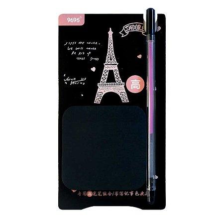 Kit de Post-it e Caneta Gel Roxa Paris