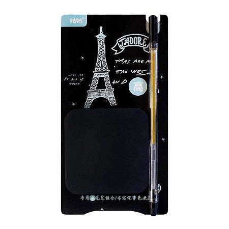 Kit de Post-it Preto e Caneta Gel Dourada Paris