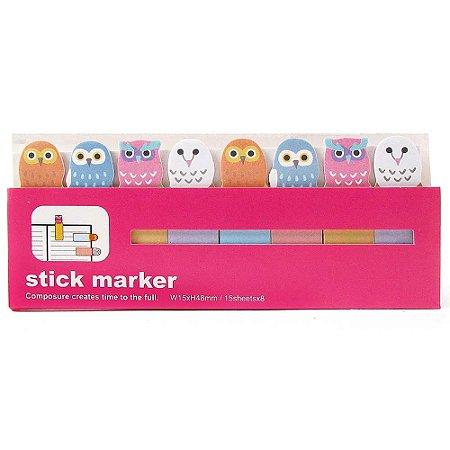Post-it Stick Marker Corujas Rosa