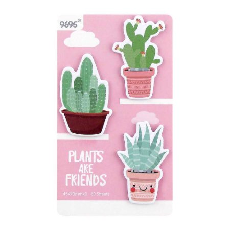 Cartela de Post-its Cactos Plants Are Friends Rosa