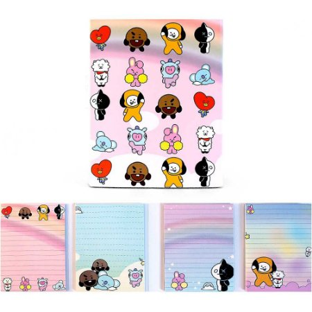 Cartela de Post-it BT21 BTS Todos Personagens Rosa