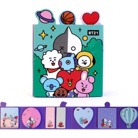 Cartela de Post-it BT21 BTS 7 Blocos Todos os Personagens