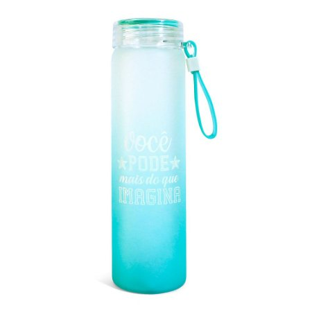 Garrafa de Vidro Alta Fosca Com Tampa Rosca Com Strap Azul Você Pode Mais do Que imagina