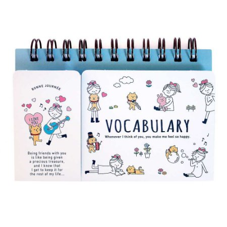 Caderno De Vocabulário Espiral Flash Card Menina Gato
