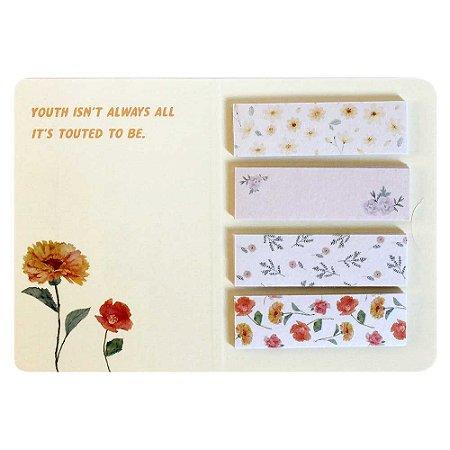 Cartela de Washi Tapes em Tiras Floral Amarelo - Artbox