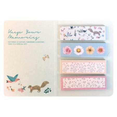 Cartela de Washi Tapes em Tiras Animais Floral Verde - Artbox