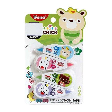 Kit de 4 Corretivos em Fita Correction Tape Urso Verde