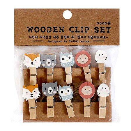 Prendedor de Madeira Com Cordão Wooden Clip Set Animais