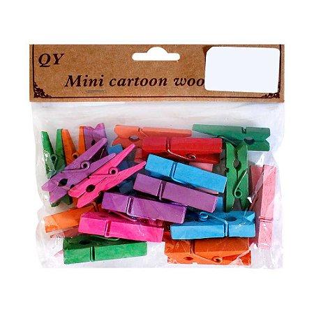 Kit Mini Prendedor de Madeira Colorido