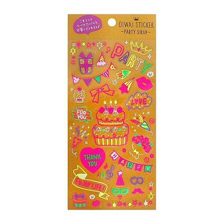 Adesivo Divertido Transparente Neon - Oiwa Sticker Party Sirup