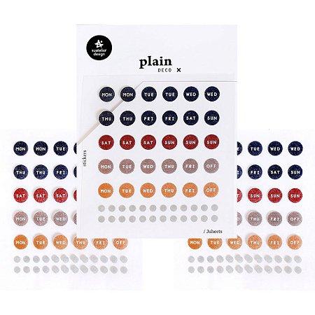Adesivo Divertido Papel - 3 Cartelas Plain Deco + n.28