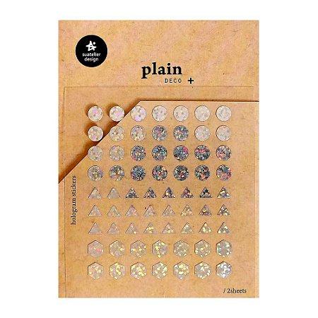Adesivo Divertido Holográfico - 2 Cartelas Plain Deco + n.24
