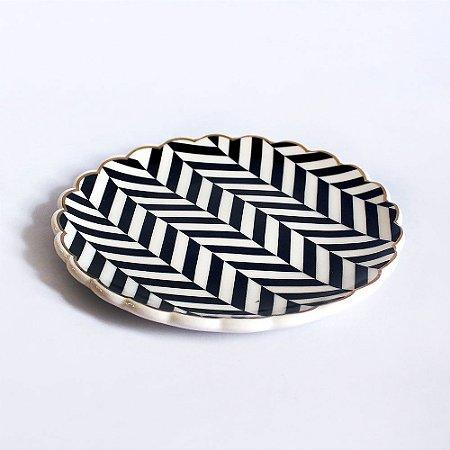 Pratinho Médio Porta Anéis de Cerâmica Chevron Preto e Branco
