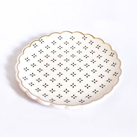Pratinho Médio Porta Anéis de Cerâmica Estampado Preto e Branco