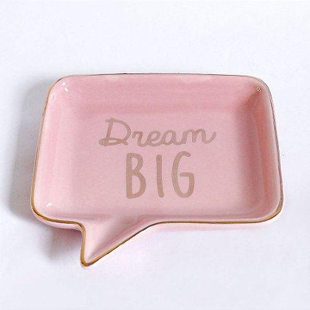 Pratinho Grande Porta Anéis de Cerâmica Balão de Fala Rosa Dourado Dream Big