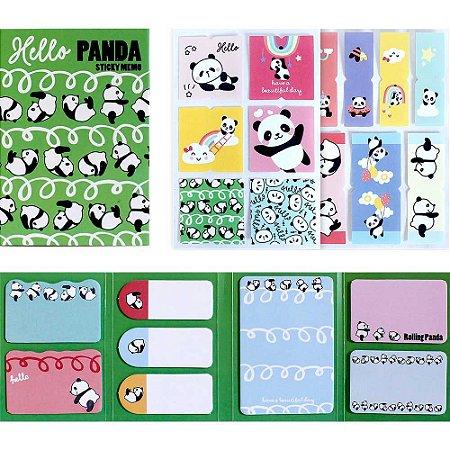 Cartela de Post-it e Adesivos 8 Blocos Panda Verde