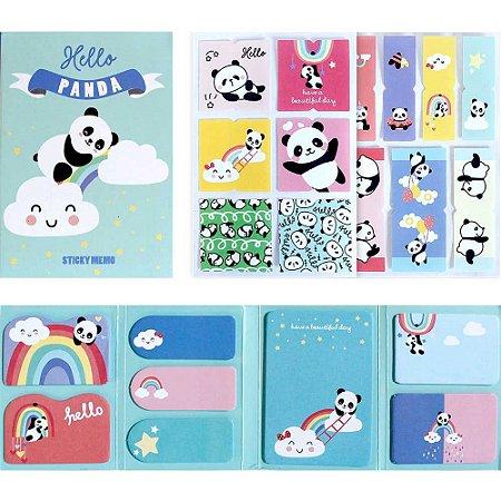 Cartela de Post-it e Adesivos 8 Blocos Panda Azul