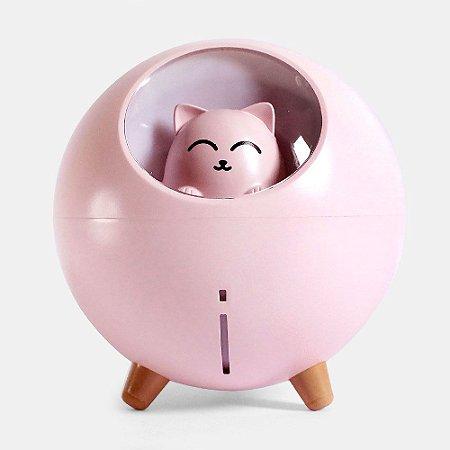 Umidificador de Ar Silencioso Gato USB Com Luz Led Colorida - Rosa