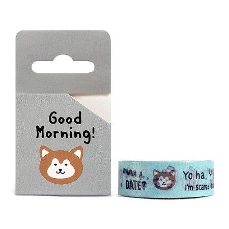 Fita Decorativa Washi Tape - Animais Good Morning! Cachorro Cinza