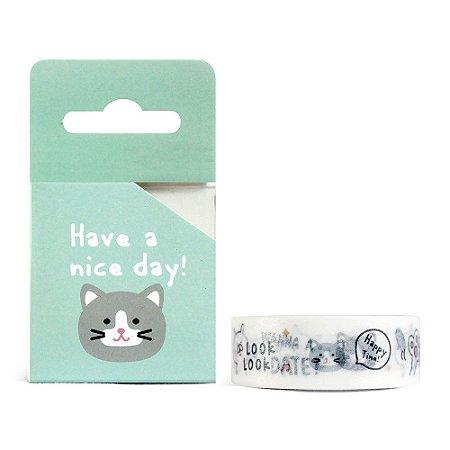 Fita Decorativa Washi Tape - Animais Have a Nice Day! Gato Verde