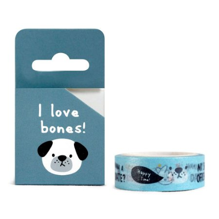 Fita Decorativa Washi Tape - Animais I Love Bones Cachorro Azul