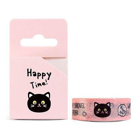 Fita Decorativa Washi Tape - Animais Happy Time! Gato Rosa