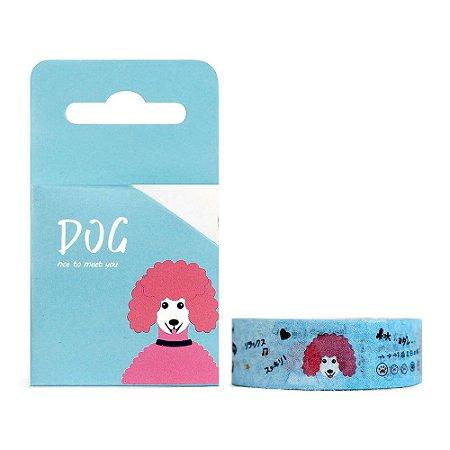 Fita Decorativa Washi Tape - Dog Cachorro Poodle Azul