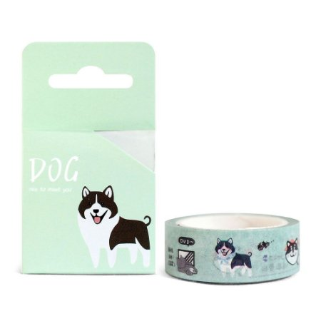 Fita Decorativa Washi Tape - Dog Cachorro Shiba Inu Verde
