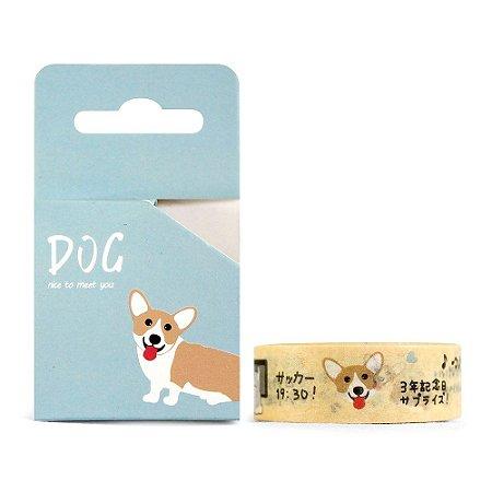 Fita Decorativa Washi Tape - Dog Cachorro Corgi Amarelo