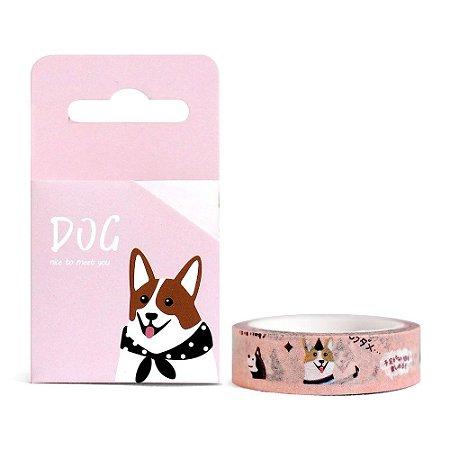 Fita Decorativa Washi Tape - Dog Cachorro Corgi Rosa