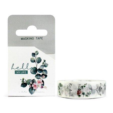 Fita Decorativa Washi Tape - Plantas Folhas Hello My Life