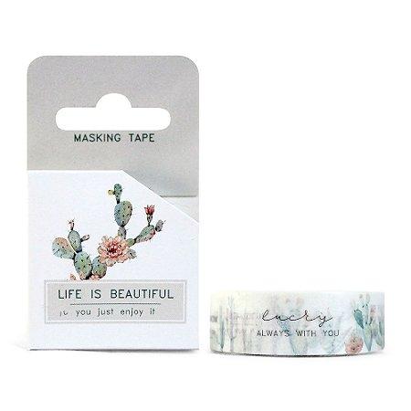 Fita Decorativa Washi Tape - Plantas Cacto Life Is Beautiful