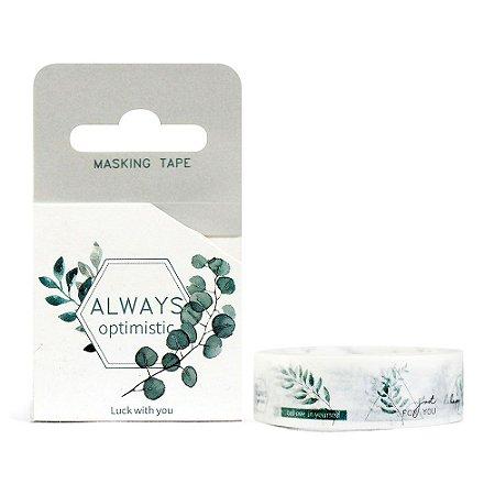 Fita Decorativa Washi Tape - Plantas Folhas Always Optimistic