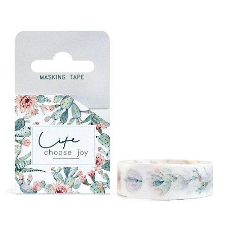 Fita Decorativa Washi Tape - Plantas Cacto Life Choose Joy