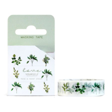 Fita Decorativa Washi Tape - Plantas Folhas Love Yourself