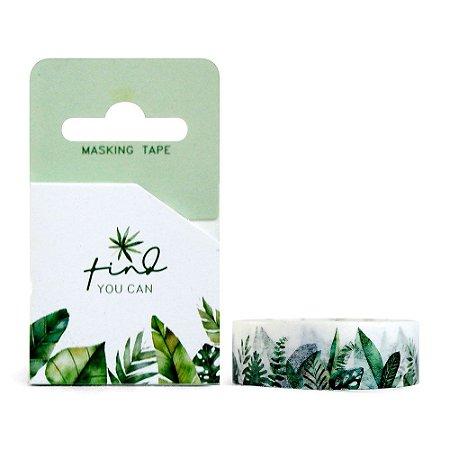 Fita Decorativa Washi Tape - Plantas Folhas Think You Can