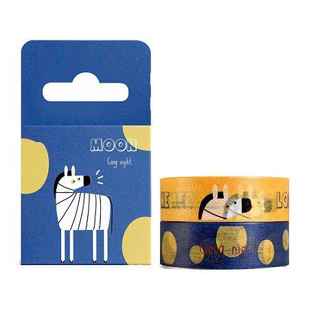 Kit de 2 Fitas Decorativas Washi Tape - Sapovica Animais Zebra Azul