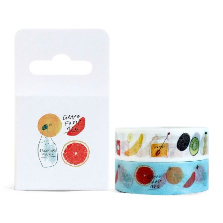 Kit de 2 Fitas Decorativas Washi Tape - Comidas Grapefruit Ade Branco