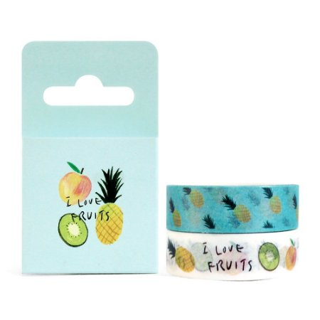 Kit de 2 Fitas Decorativas Washi Tape - Comidas I Love Fruits Azul