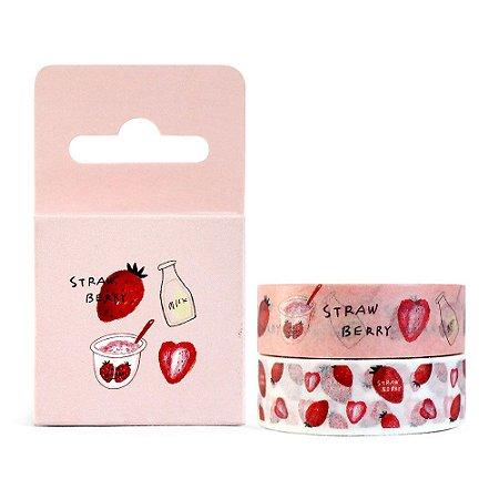 Kit de 2 Fitas Decorativas Washi Tape - Comidas Strawberry Rosa