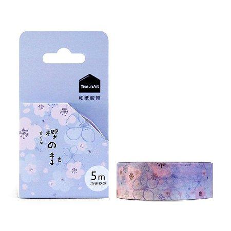 Fita Decorativa Washi Tape - Sakura Roxo