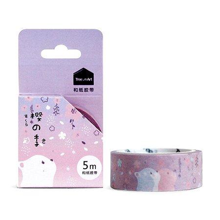 Fita Decorativa Washi Tape - Sakura Gato Roxo