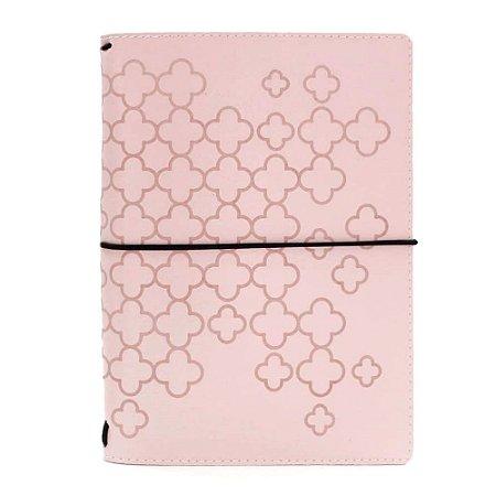 Capa Especial Costurada Tea Rose Geometric Rosa (Para 4 Blocos) Para Planner A.Craft Tamanho Padrão