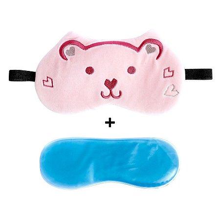 Máscara Para Dormir Com Gel Urso Rosa