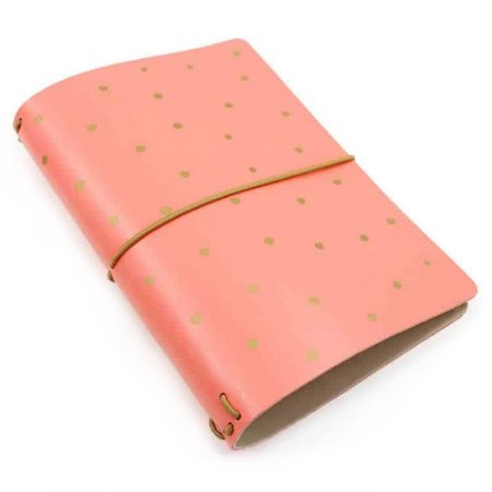 Capa Rosa Coral Dots (Para 4 Blocos) Para Planner A.Craft Tamanho Padrão