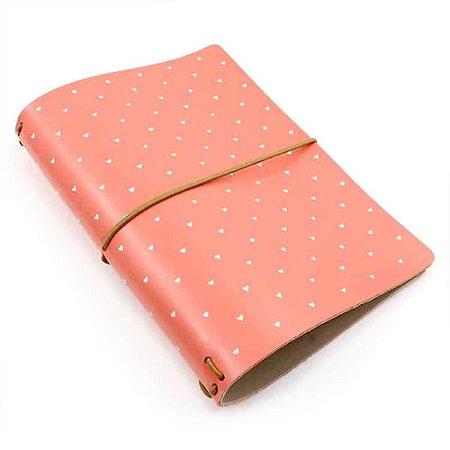 Capa Rosa Coral Corações (Para 4 Blocos) Para Planner A.Craft Tamanho Padrão