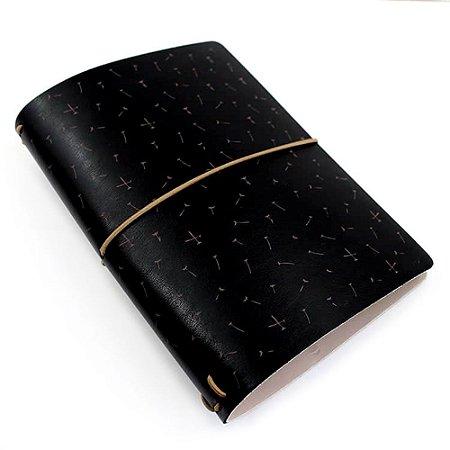 Capa Black Dandelion Preto (Para 4 Blocos) Para Planner A.Craft Tamanho Padrão