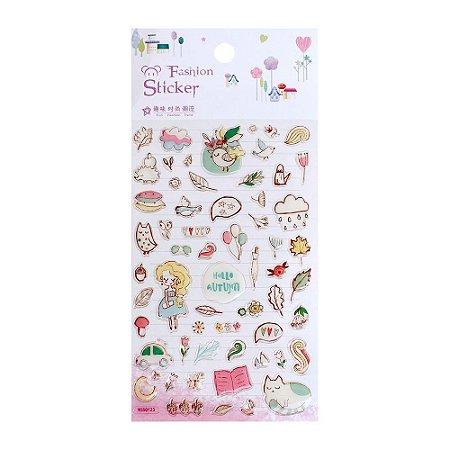 Adesivo Divertido Epoxy - Fashion Sticker Hello Autumn Rosa