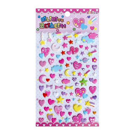 Adesivo Divertido Puffy - Eaki Coração Estrela Rosa