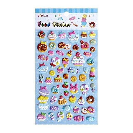 Adesivo Divertido Puffy - Eaki Food Sticker Doces Azul